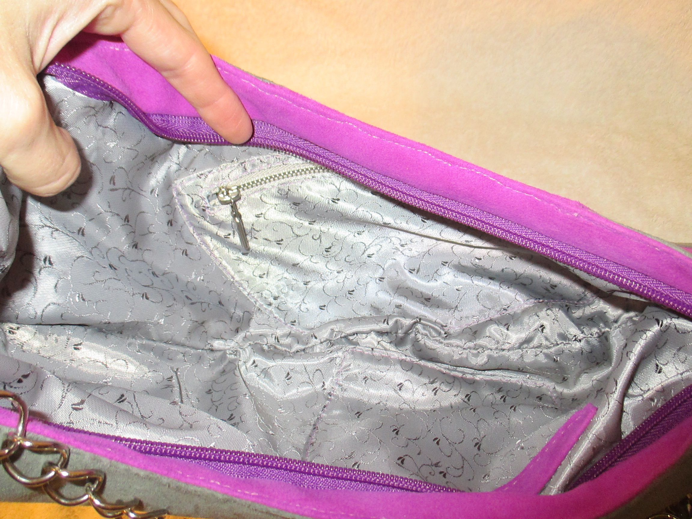 bag leather clutch pink accessories grey