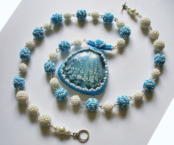 beads accessories necklace jewelry blue white