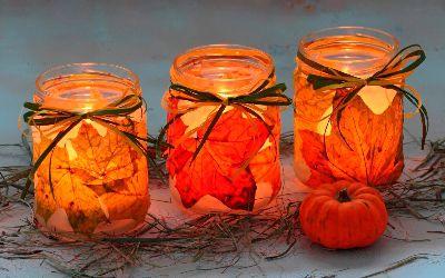 candleholder autumnleaves handicraft creativeidea handmade candle autumn diy