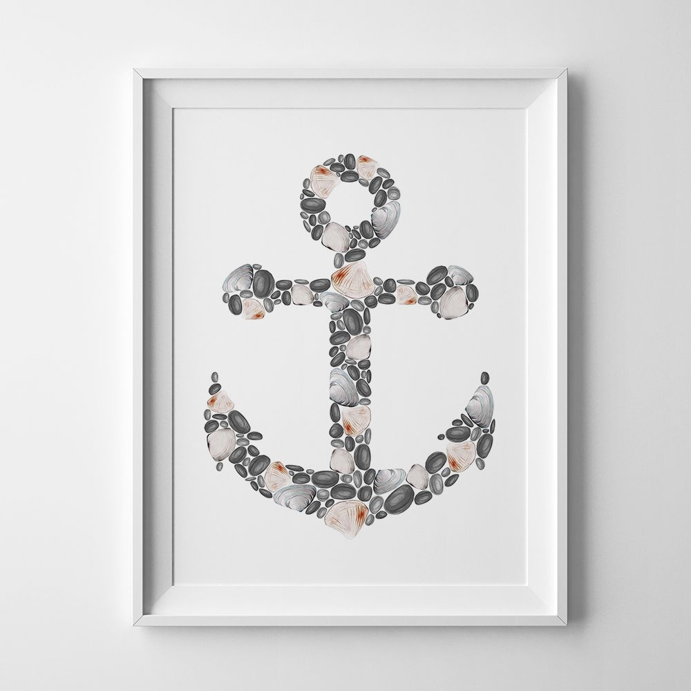 nautical sea shell decor beach coastal wall bathroom anchor print prints artwork art