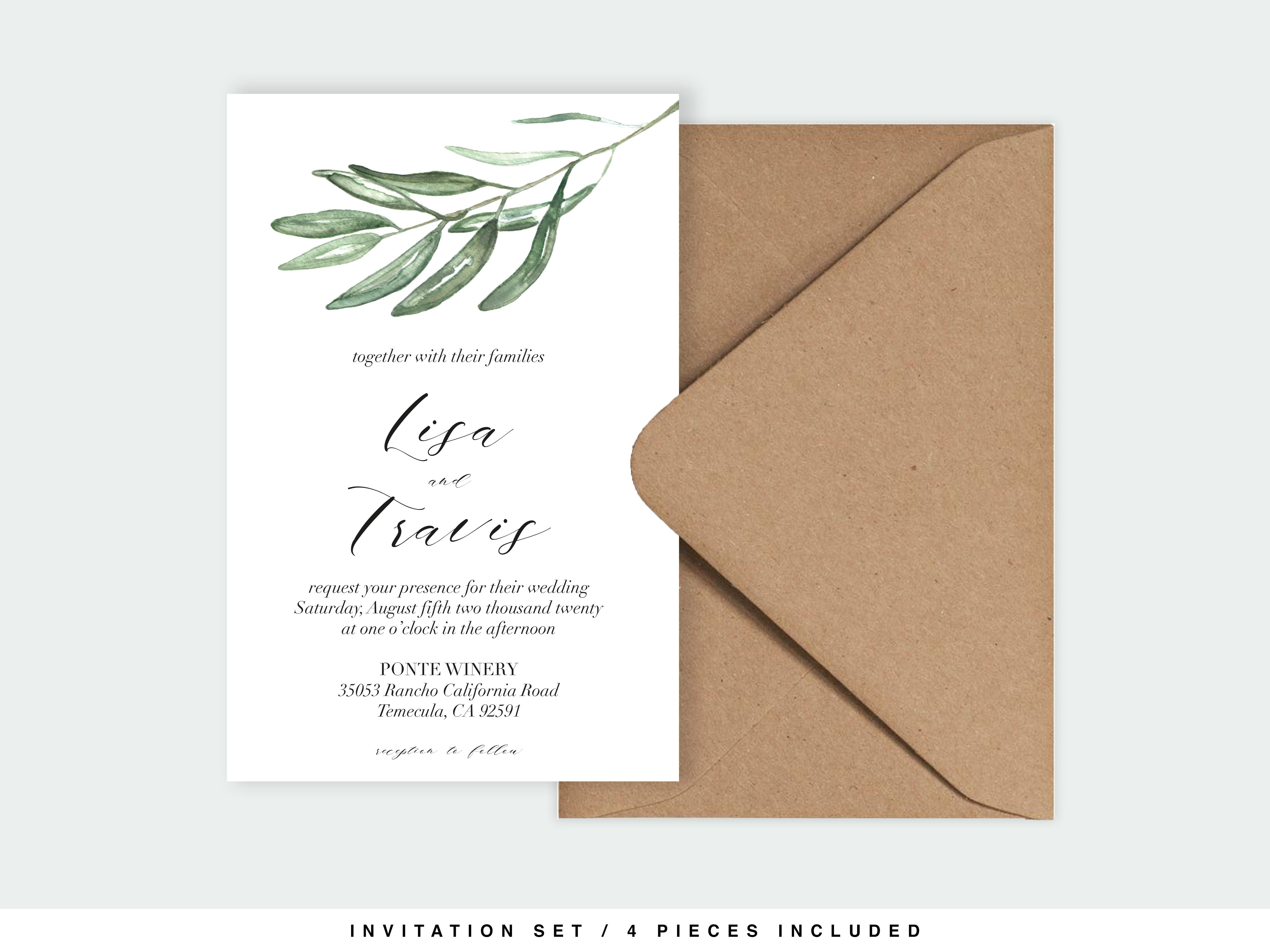 Greenery Wedding Invitation Template Suite