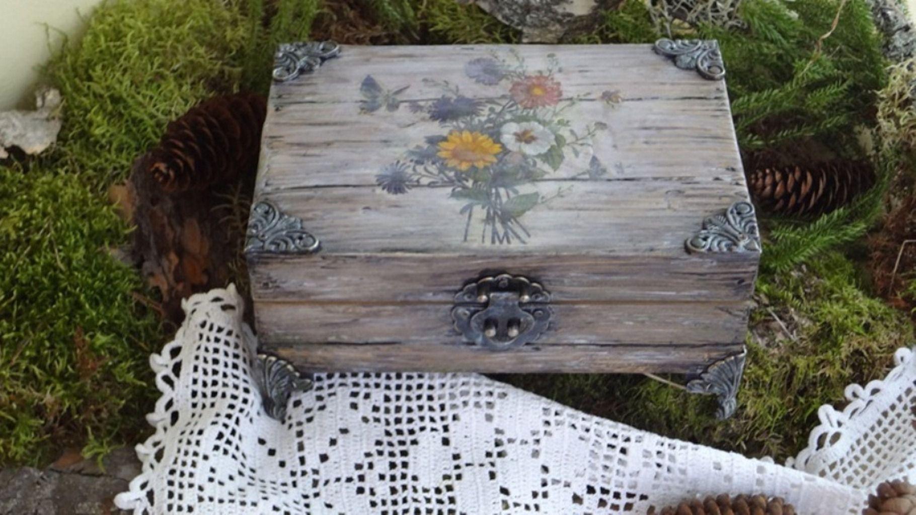 flowers casket old handmade wood imitation
