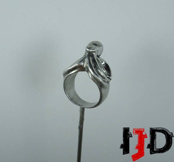 silver ring jewelry gothic octopus pagan demon cthulhu