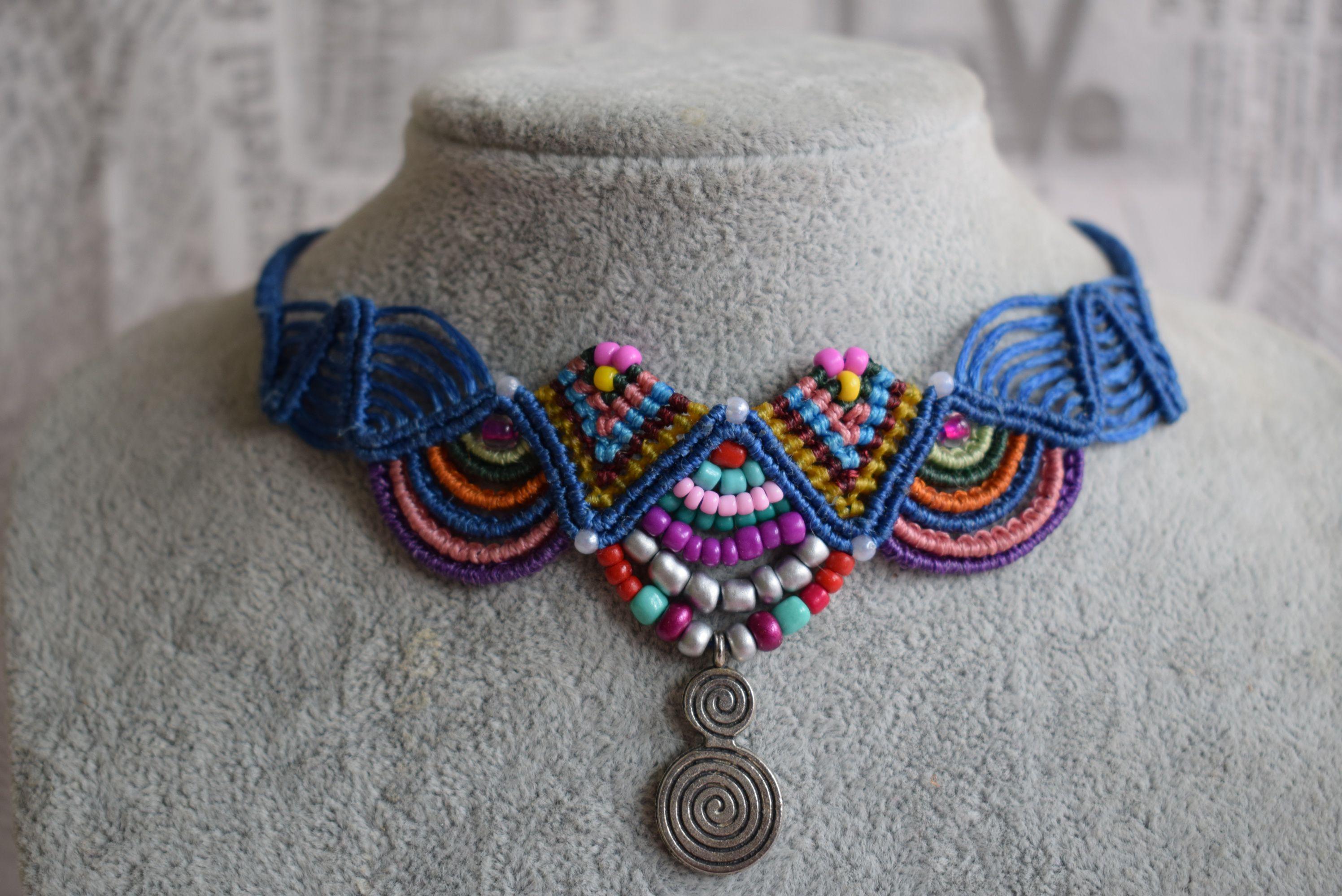 handmade hand gift set bracelets unique bracelet necklace jewelry blue braided friendship macrame woven hippie sets bohochic anklet work