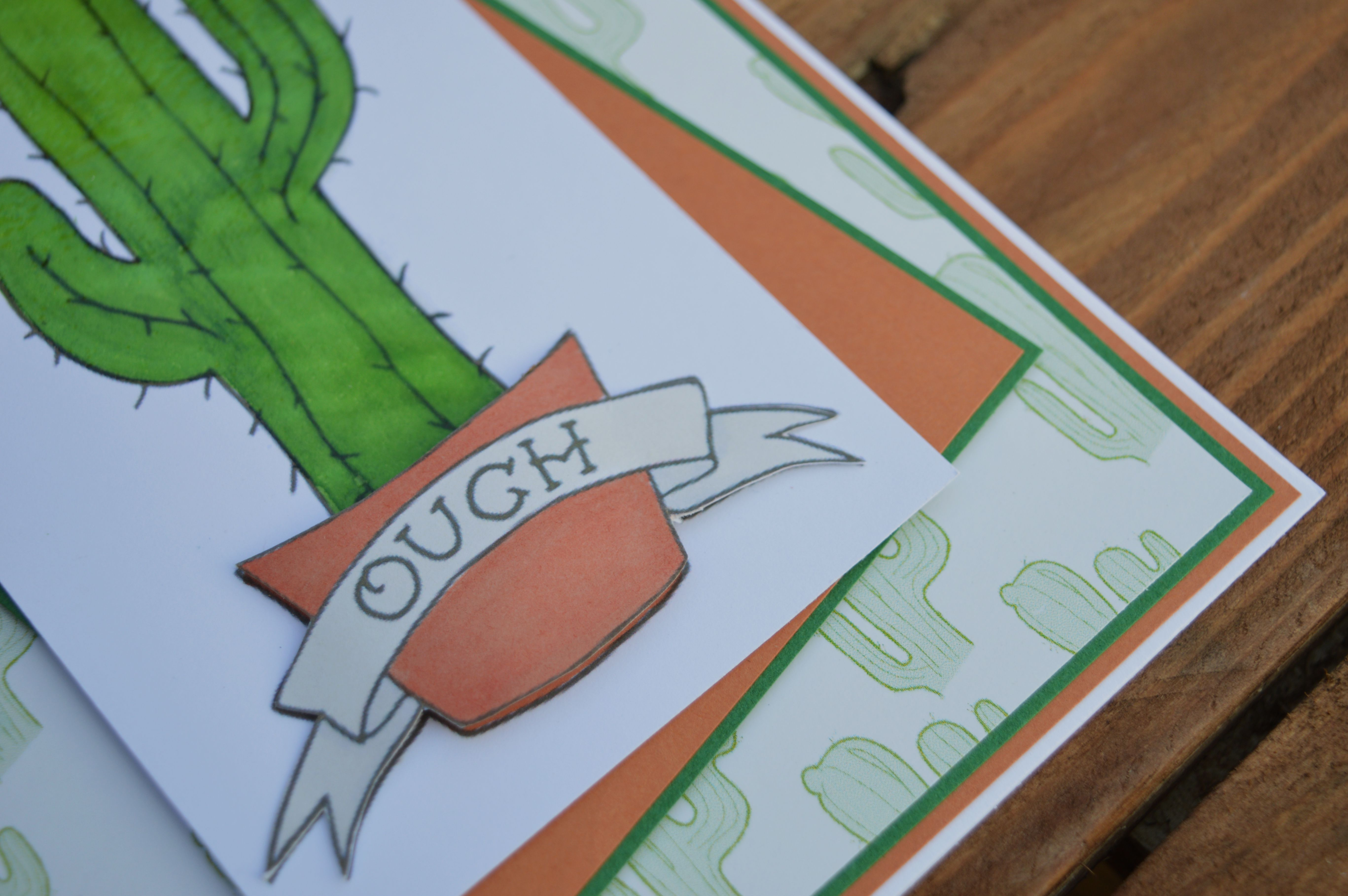 birthday card illustration unique greetings cacti gift papercraft handmade alternative tattoo cactus