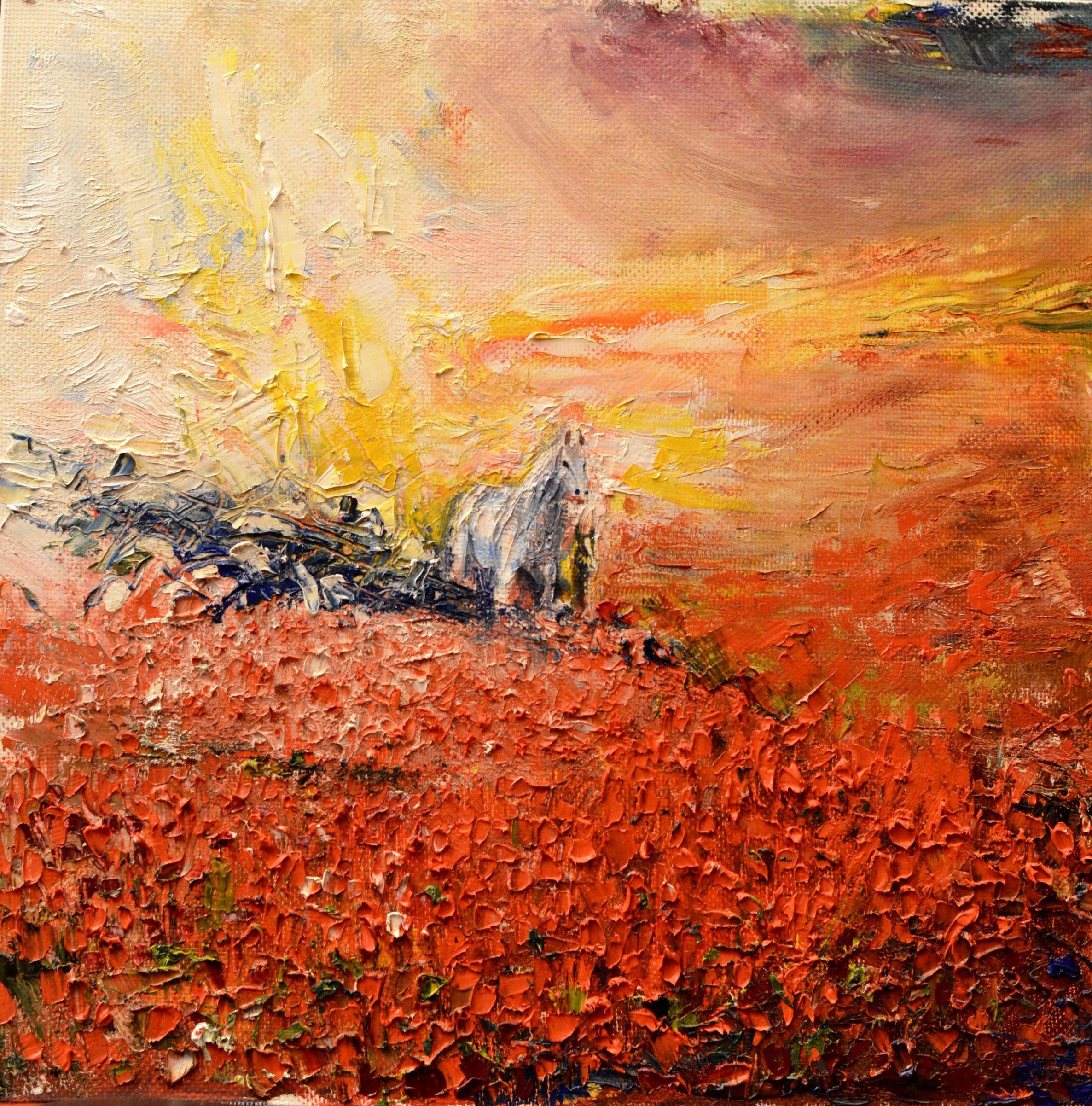 landscape oil horse canvas painting art