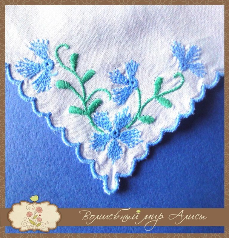 accessories handkerchief embroidery violet white