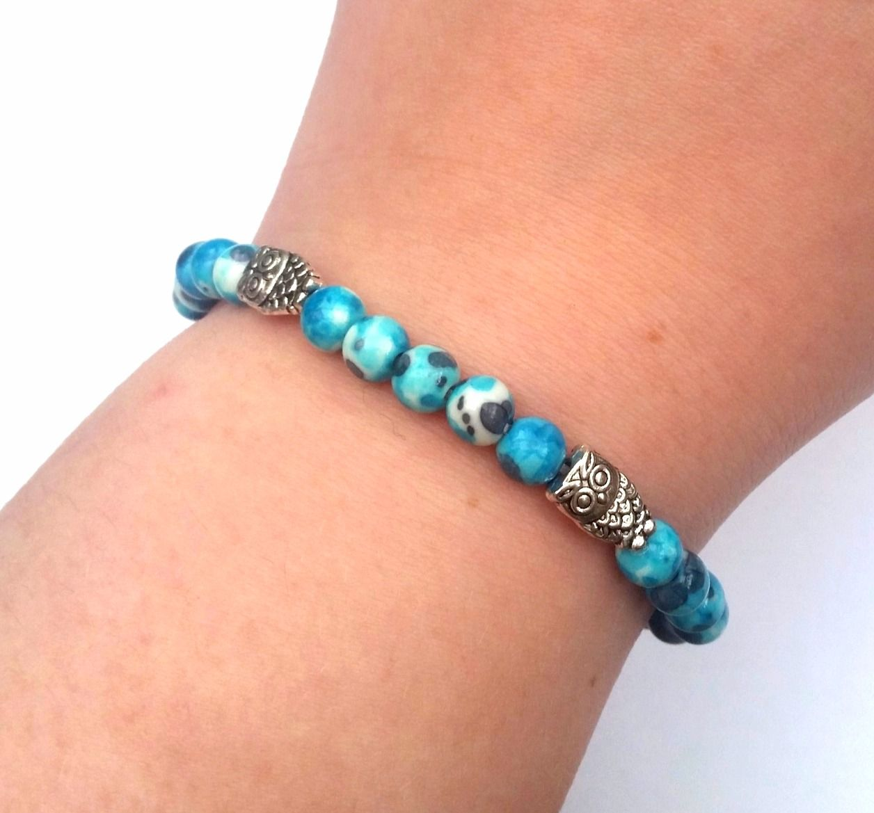 stretch jewellery jewelry blue bracelet owl