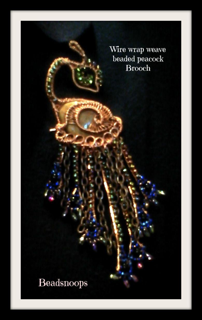 wirewrapweave beadsnoops beaded brooch handmade peacock