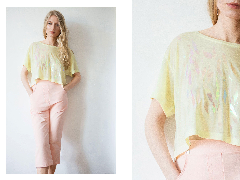 shirt eucalyptus top yellow fish