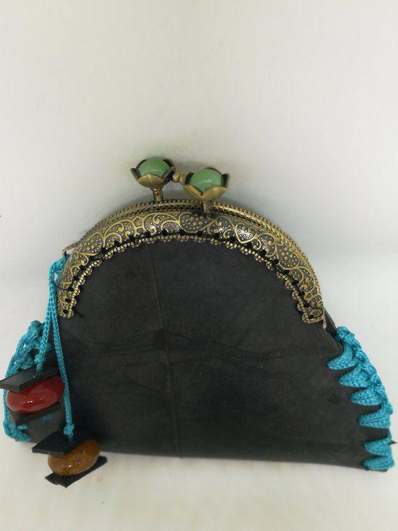 color innertube bronze makrame green coin black purse frameclasp red yarn blue metal beads freeshipping