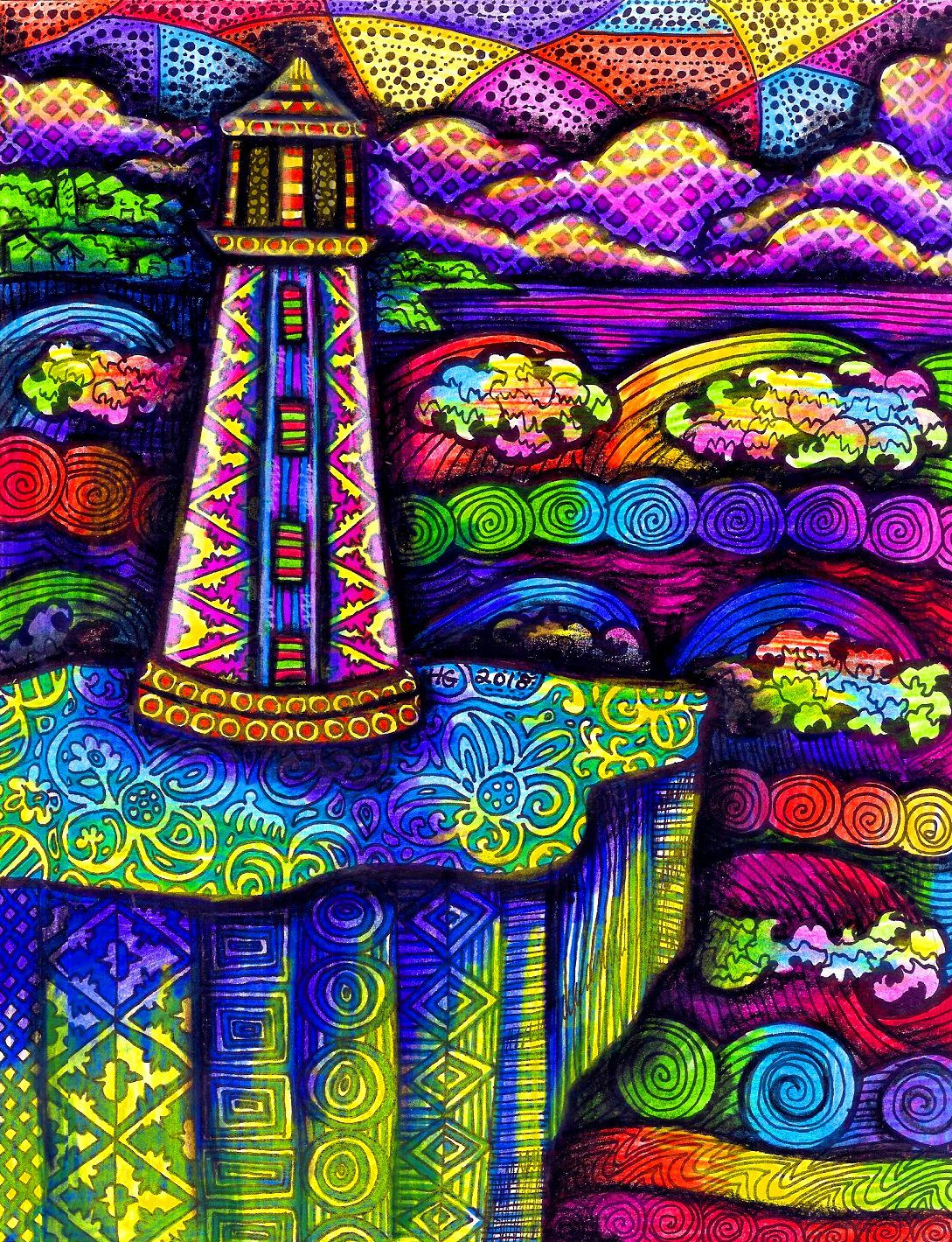 colorful ocean zentangle rainbow hgcreativearts colorfulart abstract lighthouse seascape drawing artwork art