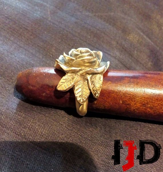 gold jewelry golden brass rose ring flower