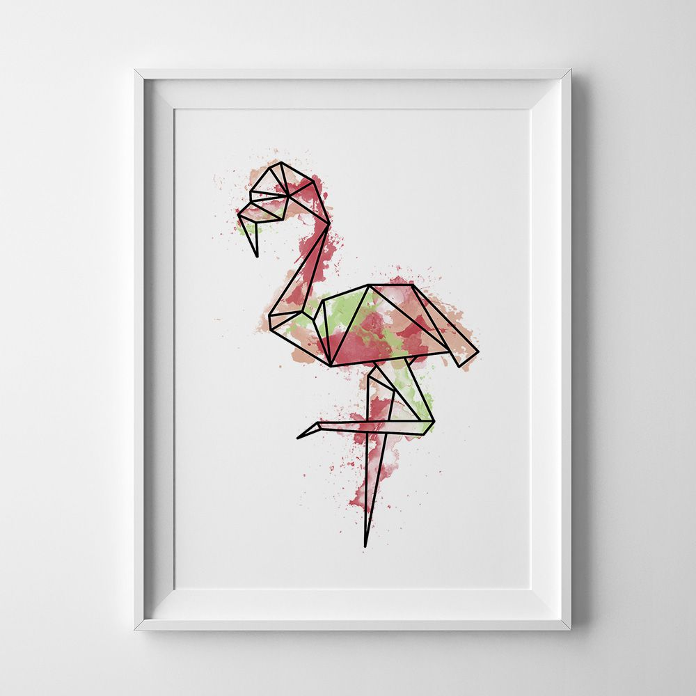 poster decor gift pink wall decorations watercolor flamingo print modern prints artwork art