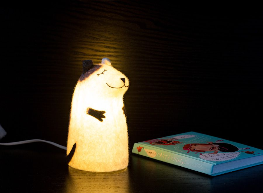 interior brown felt nightlamp lamp dog puppy white