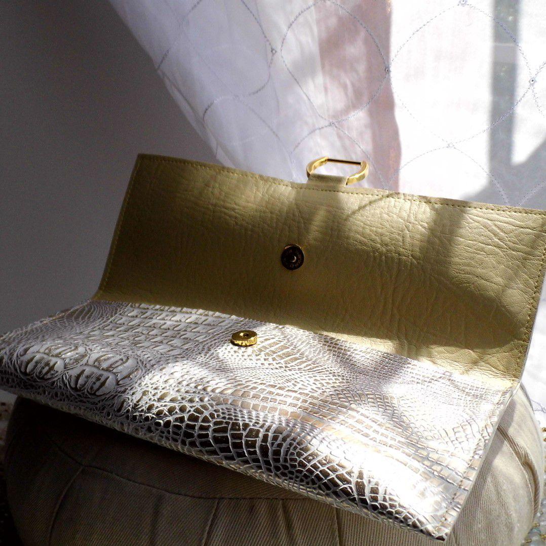 white eveningbag clutchpurse etsyseller reptile crocodile gennhaio fauxleather handbag gold handmade veganleather silver cream