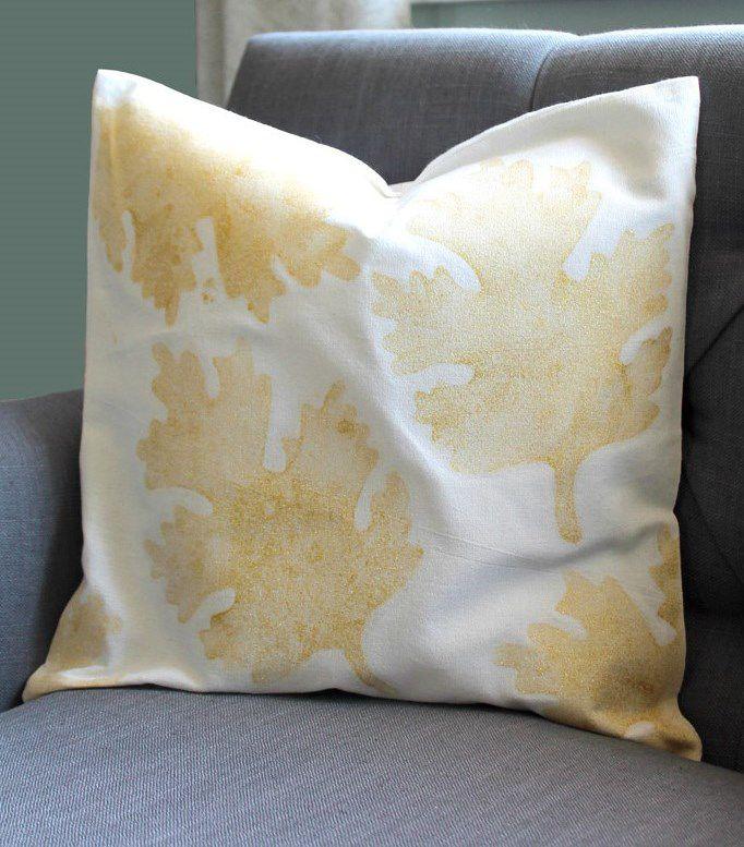 sparkles textile golden pillow fall glitter autumn pillowcover print