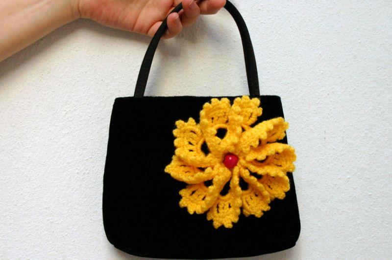 cotton vintage brooch boho crochet jewelry handmade