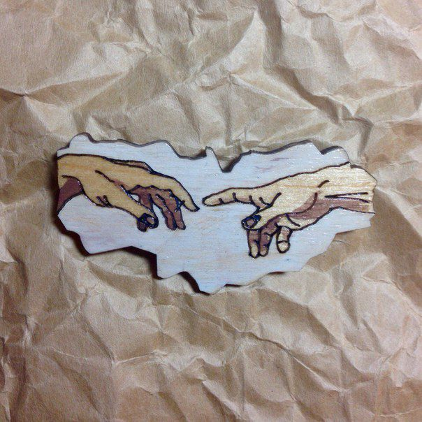 fashionwood brooch pin wooden michelangelobuonarroti