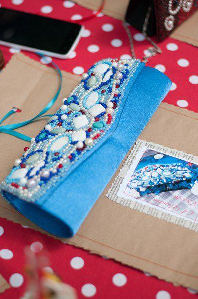 clutch coral jasper cacholong turquoise handmade