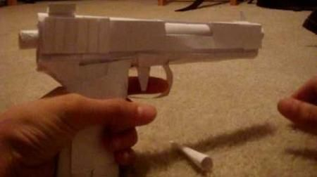make toy gun paper children