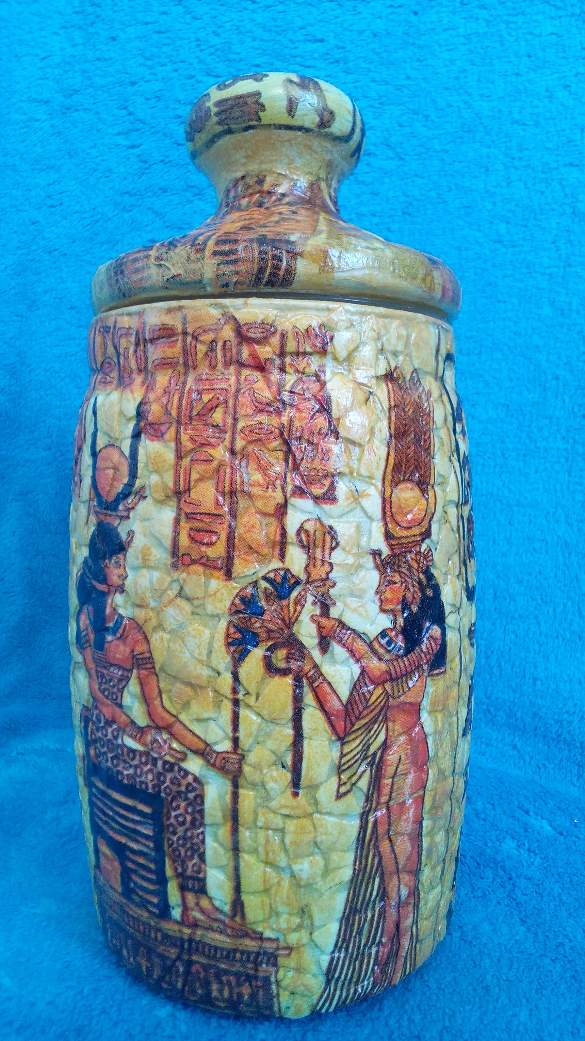 egypt interior vase decoupage