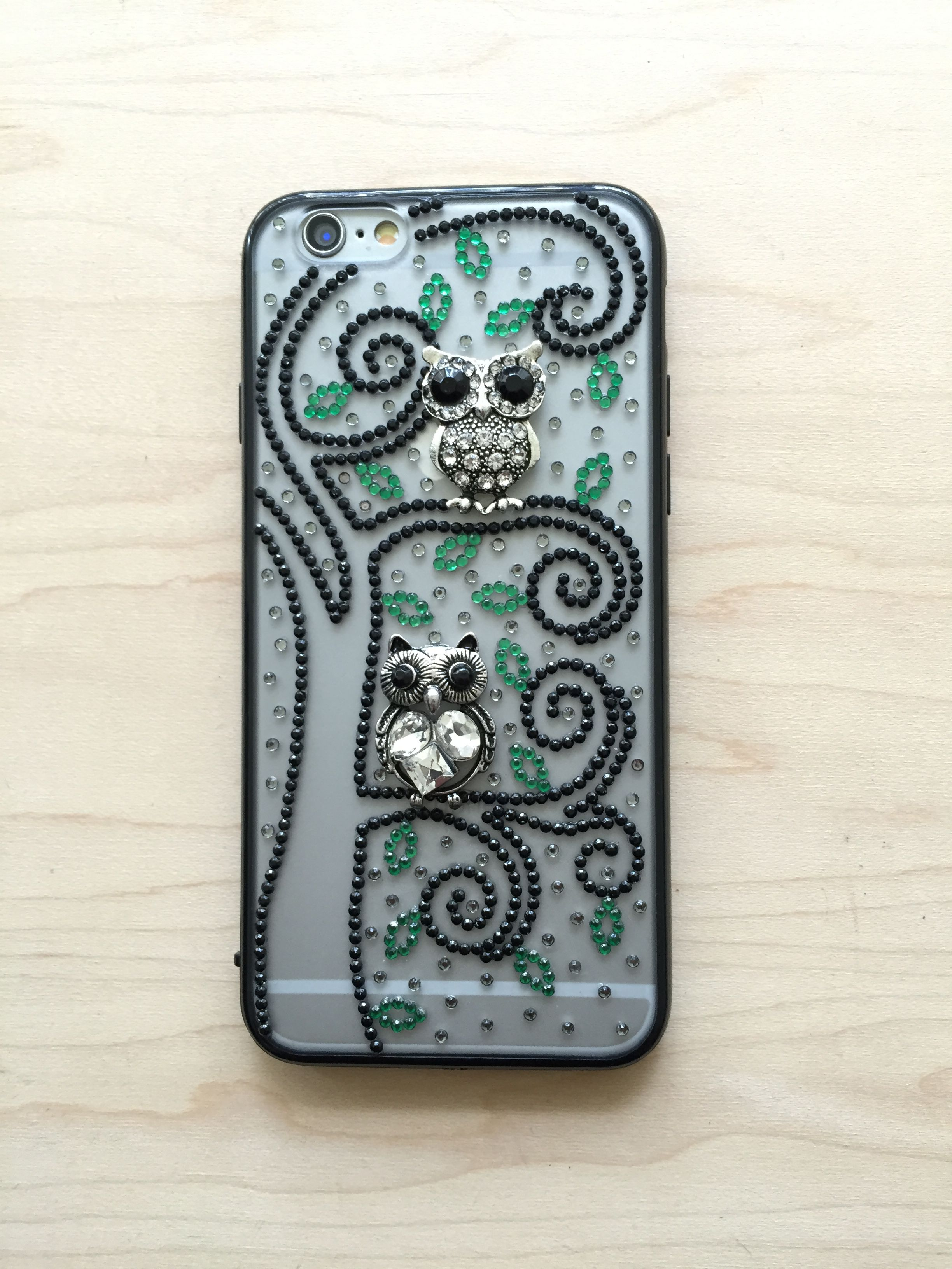 bling leave rhinestones transparent green bedazzled black tree unique iphone handmade silver owls charms