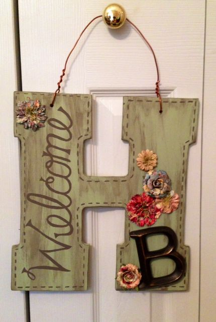 monograms letters seasonal designed front wall custom hangers door welcome