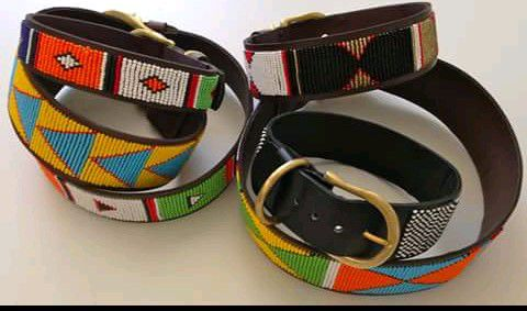 buckle fine leather traditional gift dog collar african beads leashes puppy