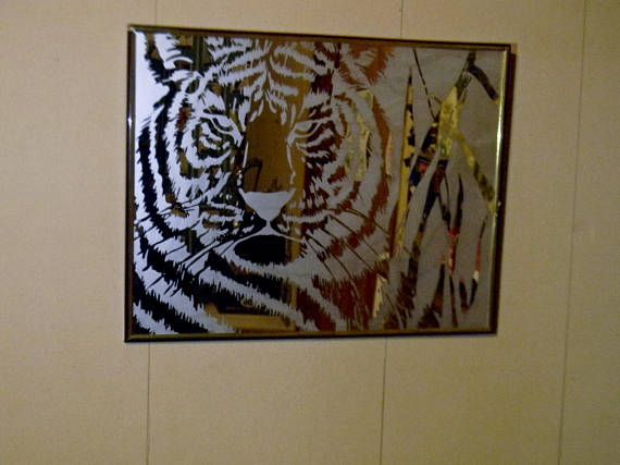 8x10 Etched White Bengal Tiger Mirror