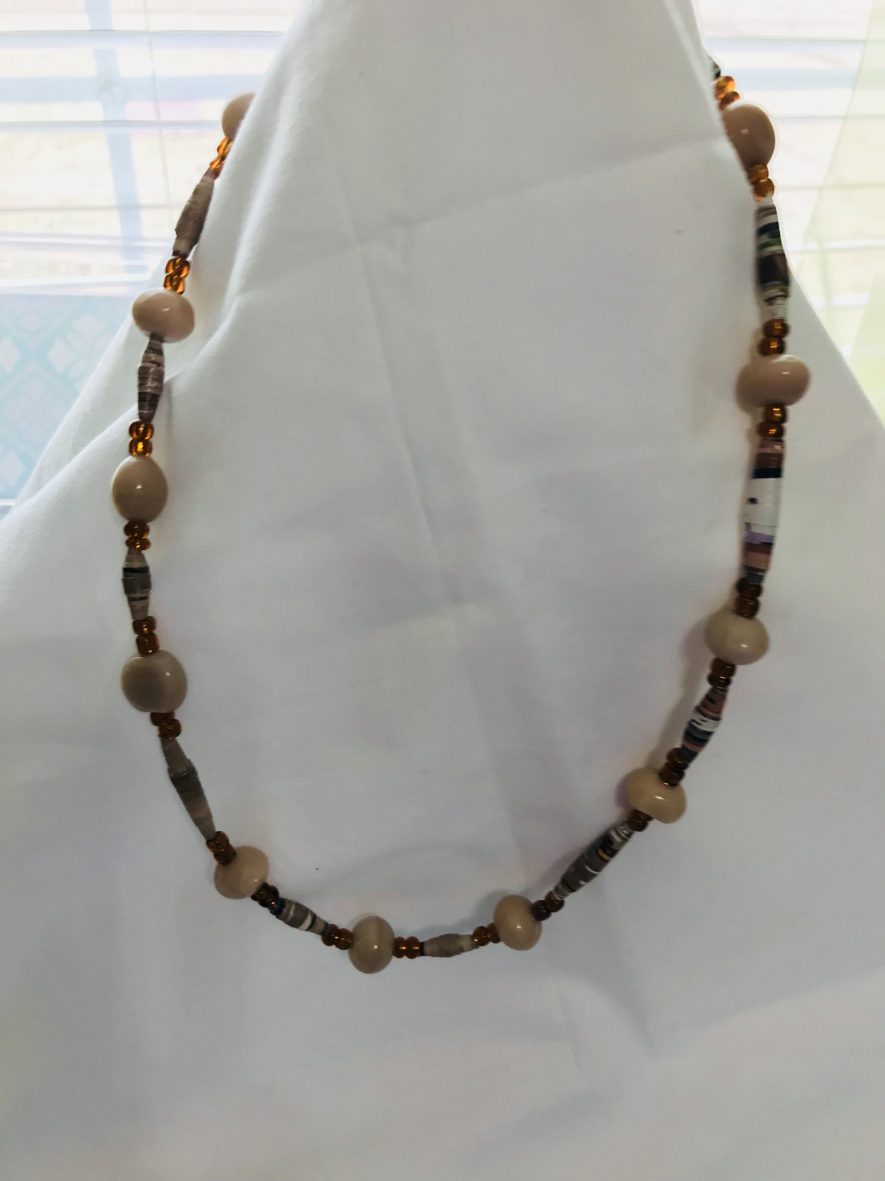 handmade gift material unique necklace color recycled unisex paperbeads priced neutral reasonably