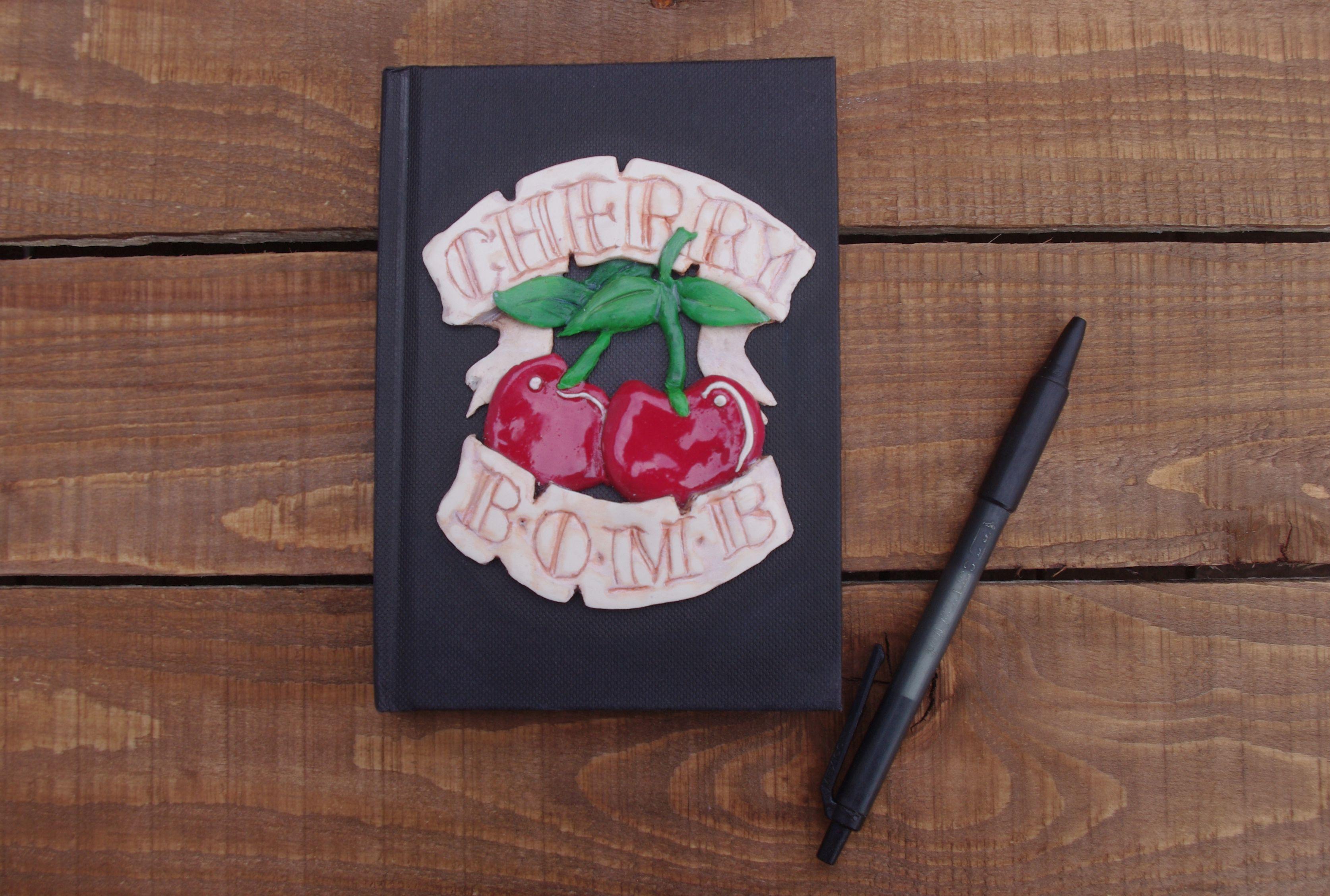 rockabilly unique gift writing notepad bomb cherry notebook handmade book alternative clay tattoo
