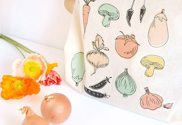 diy summer cool print totebag veggie