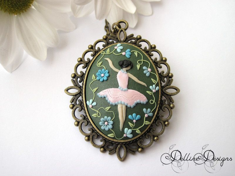 ballerina applique green flowers bronze antique filigree pendant gift present unique floral jewelry handmade necklace polymer clay handcrafted embroidery