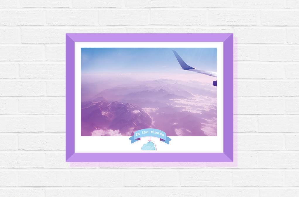 poster sky travel photography plane blue print mountains cloud art