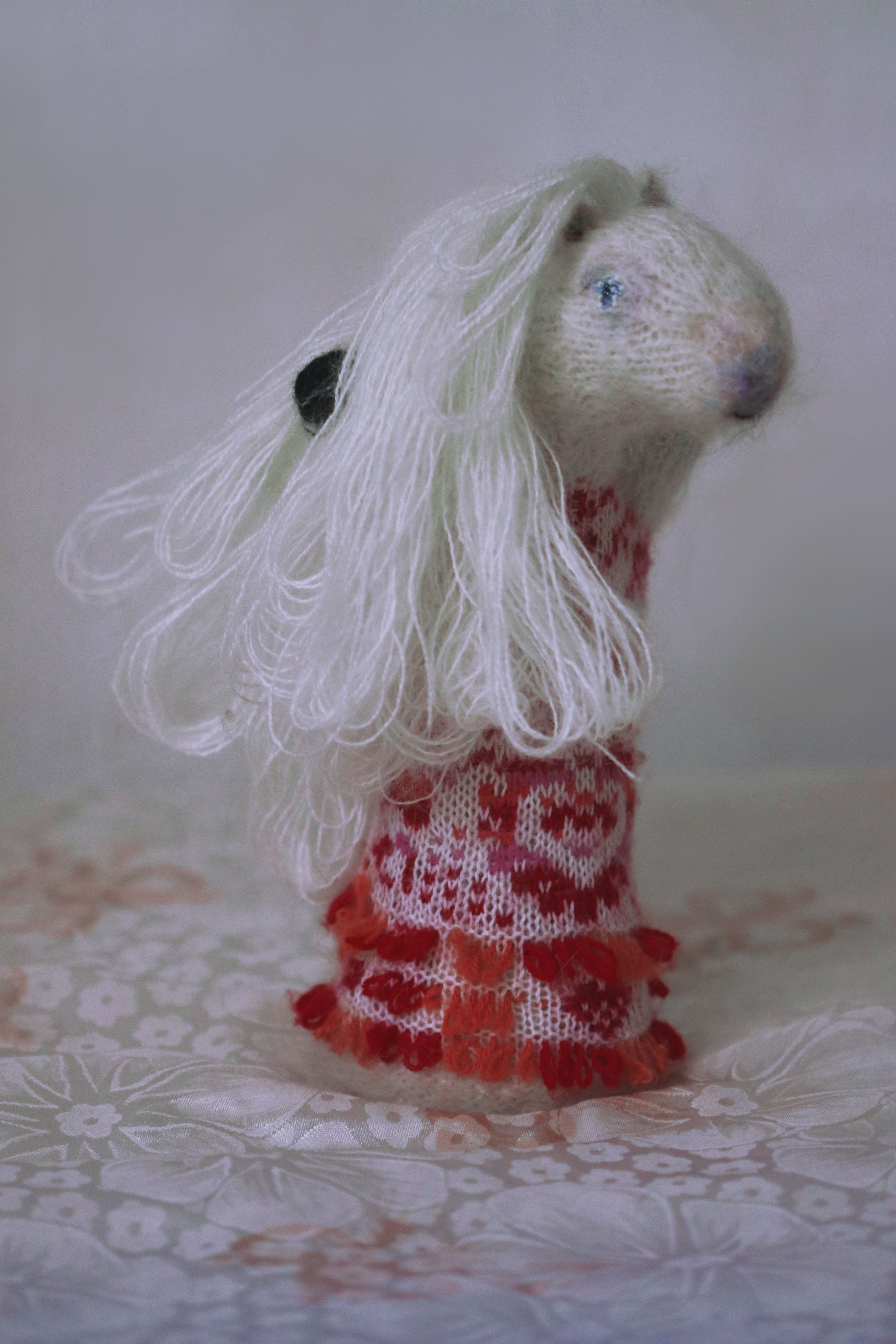 toy girl white pony orgonite gift stuffed soft red sculpture animal horse collectible knitted plush