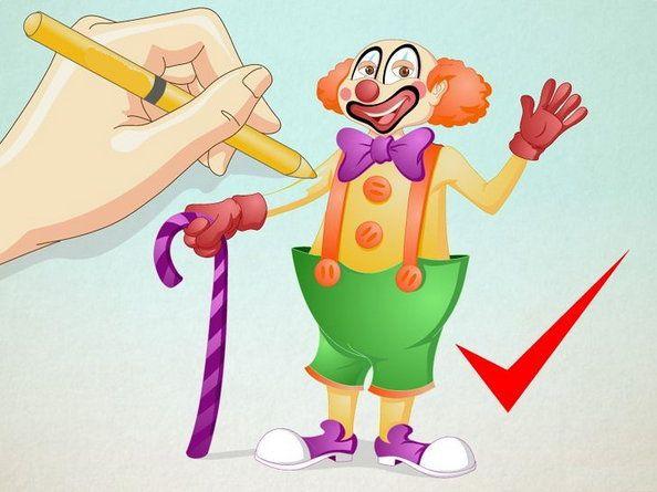 art steps clown color draw