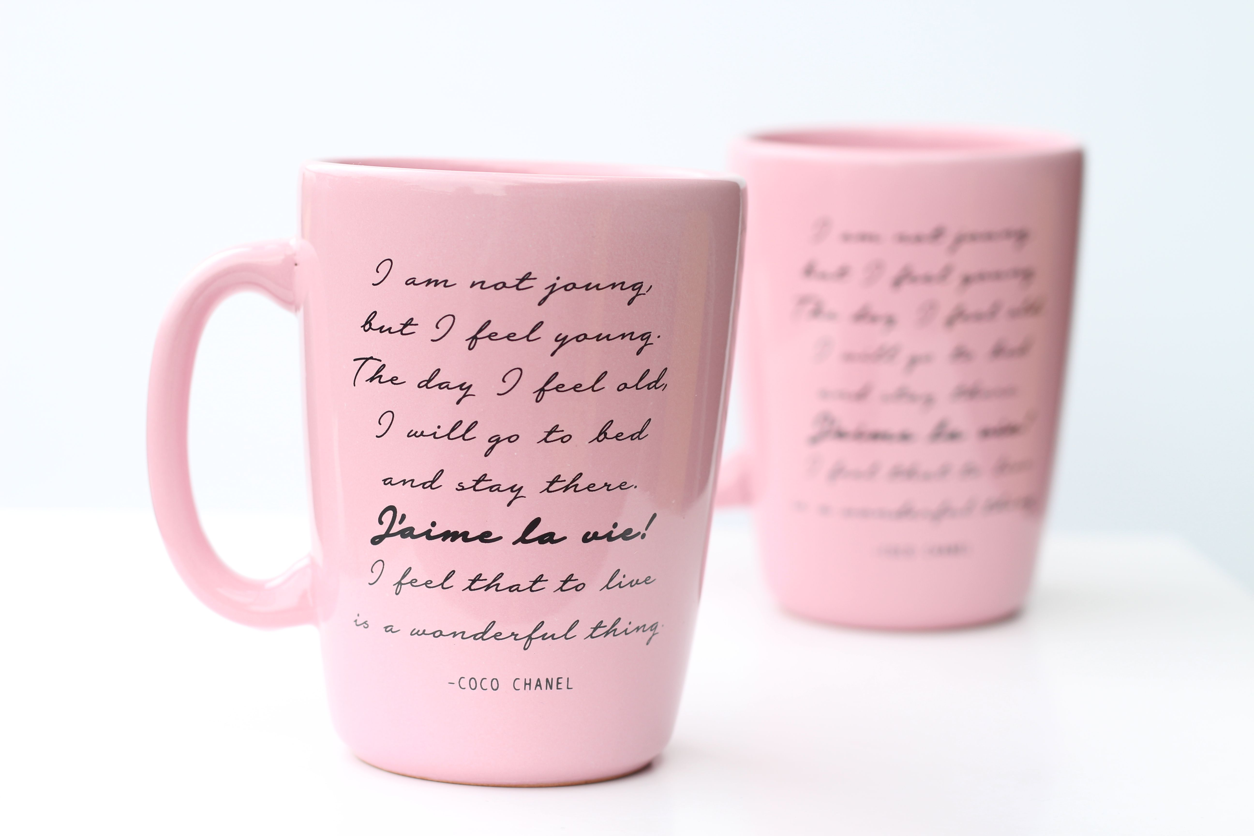 Pink Coco Chanel Quote Mug 10 Oz Ceramic Coffee Mug Inspirational