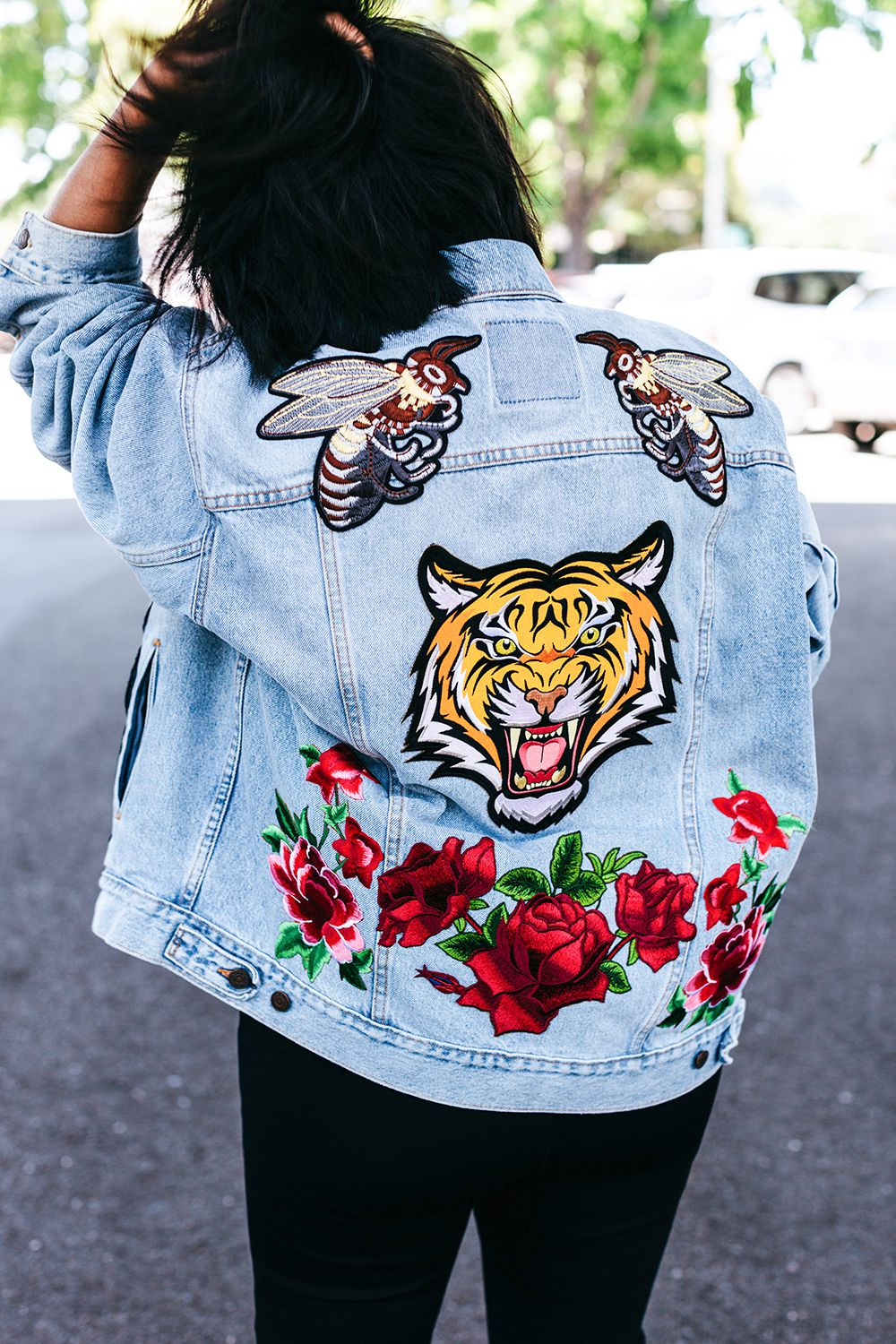 vintage jacket style patches denim