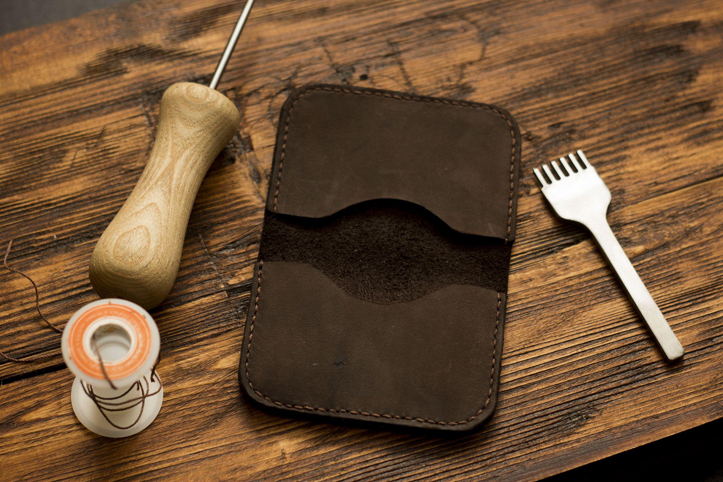 handmade leather card men wallet for case holder credit