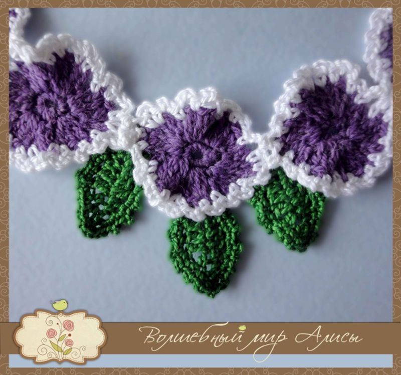 accessories necklace violet white knitting