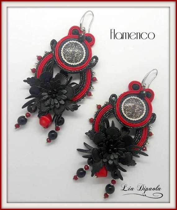 flamenco black earrings soutache red handmade