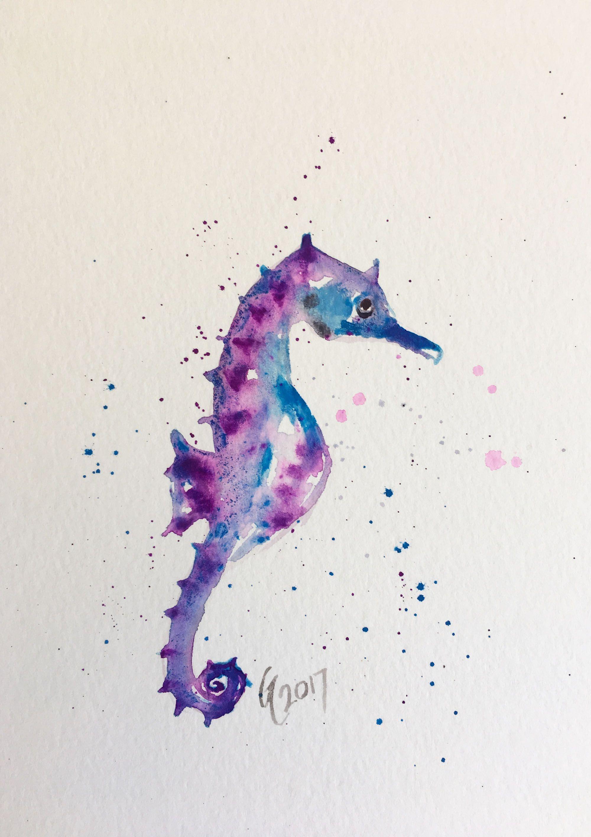 seahorse fish painting horse watercolor original home art decor sea beach