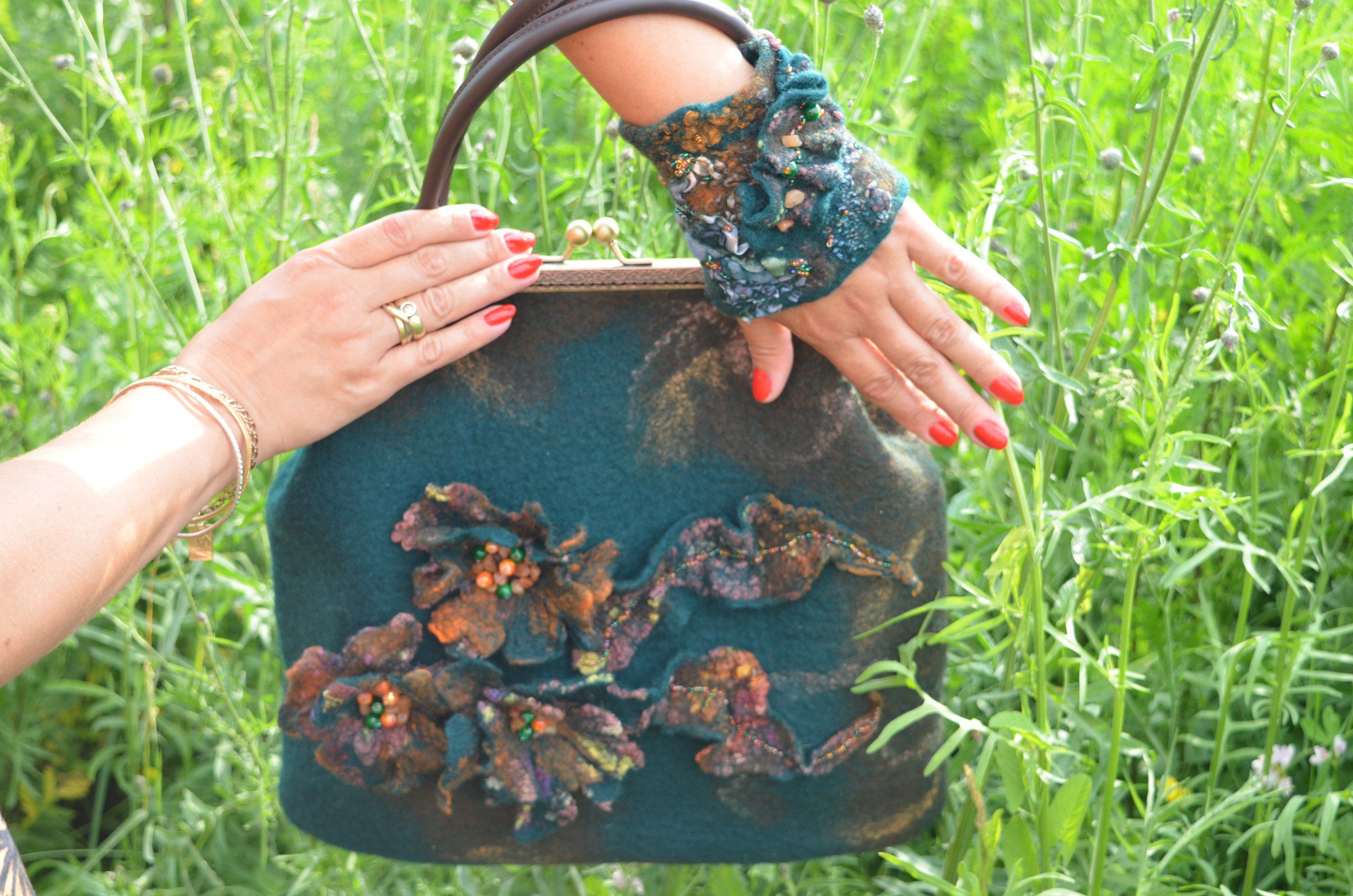 bracelet wool wristcuff milled handbag