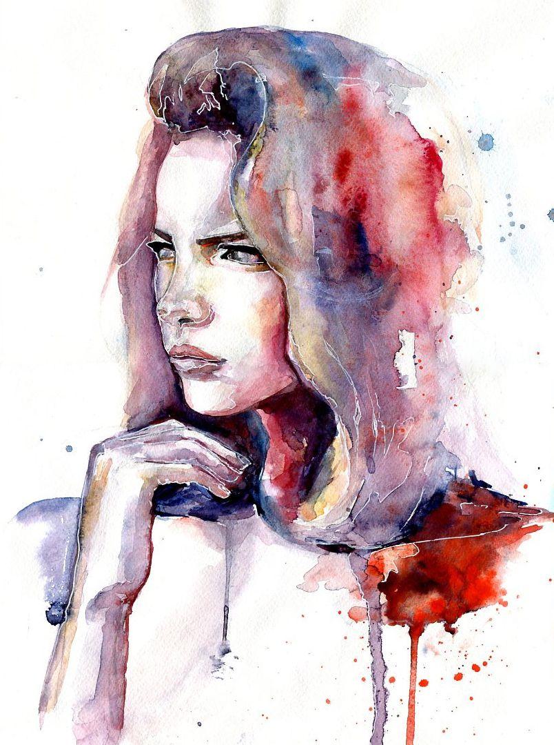 portrait watercolor painting art