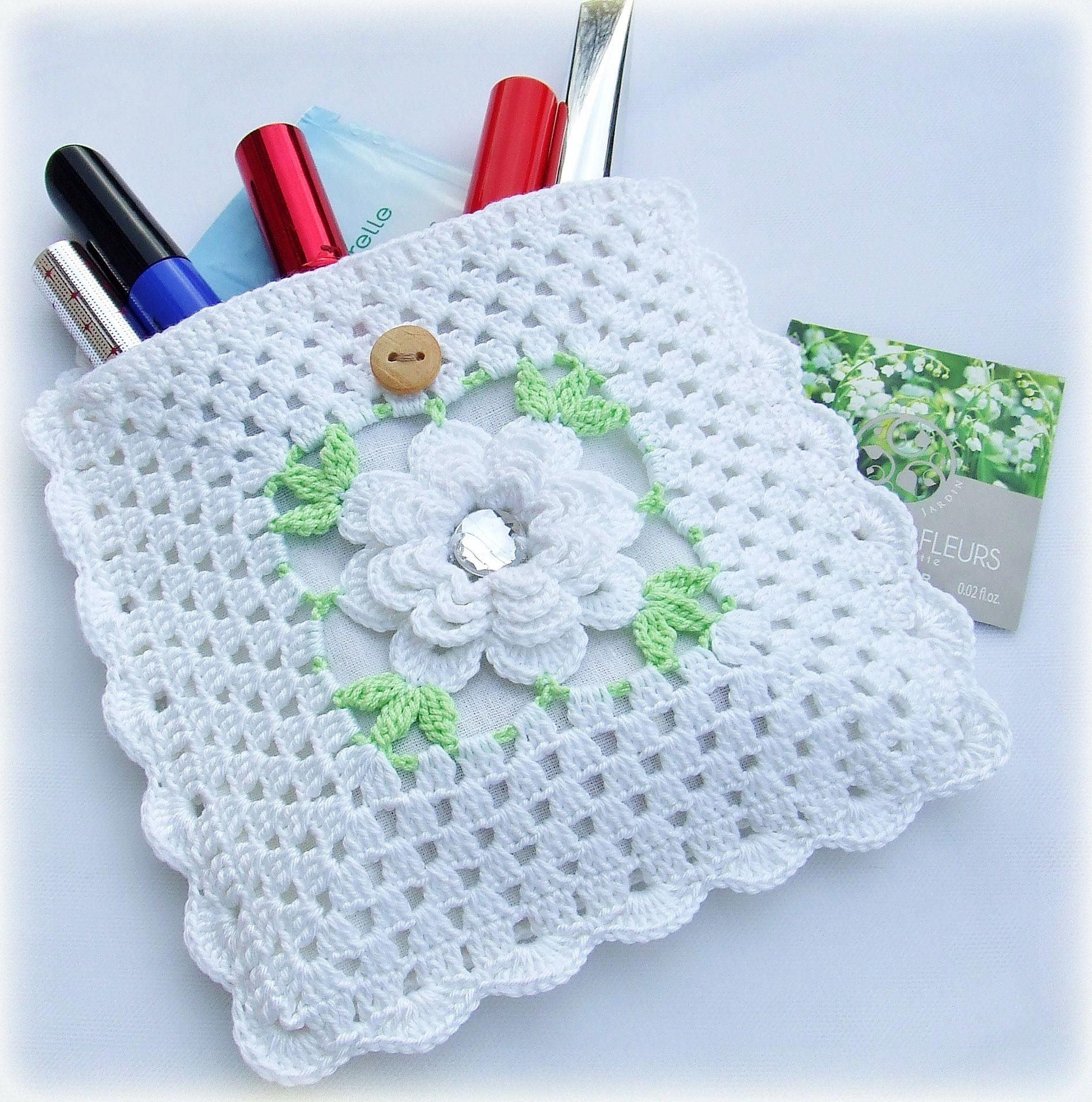 pin bag cotton cosmetics white knitting