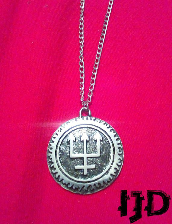 satanic watain pendant trident black jewelry necklace metal pagan