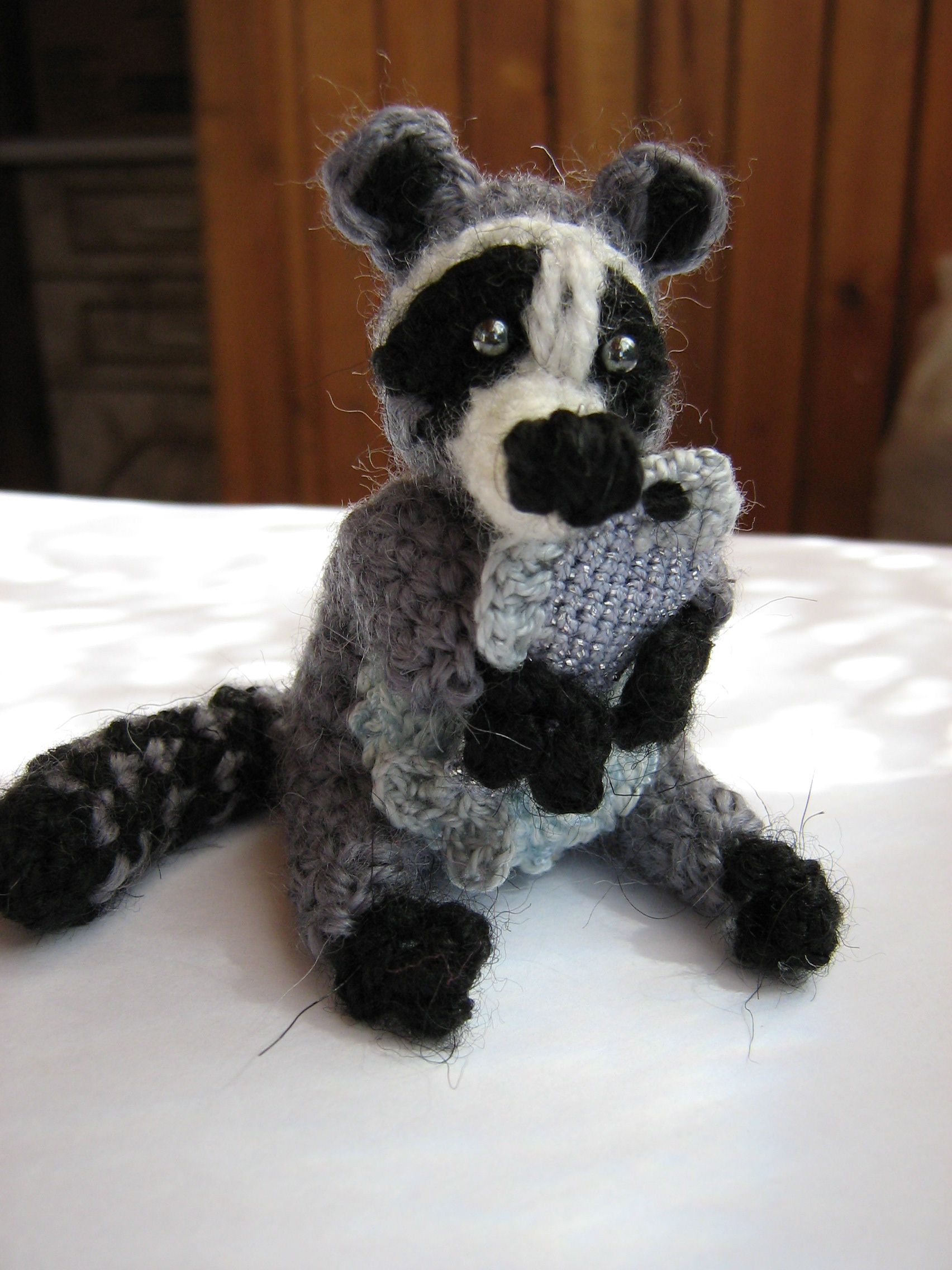 toy souvenir knitted raccoon