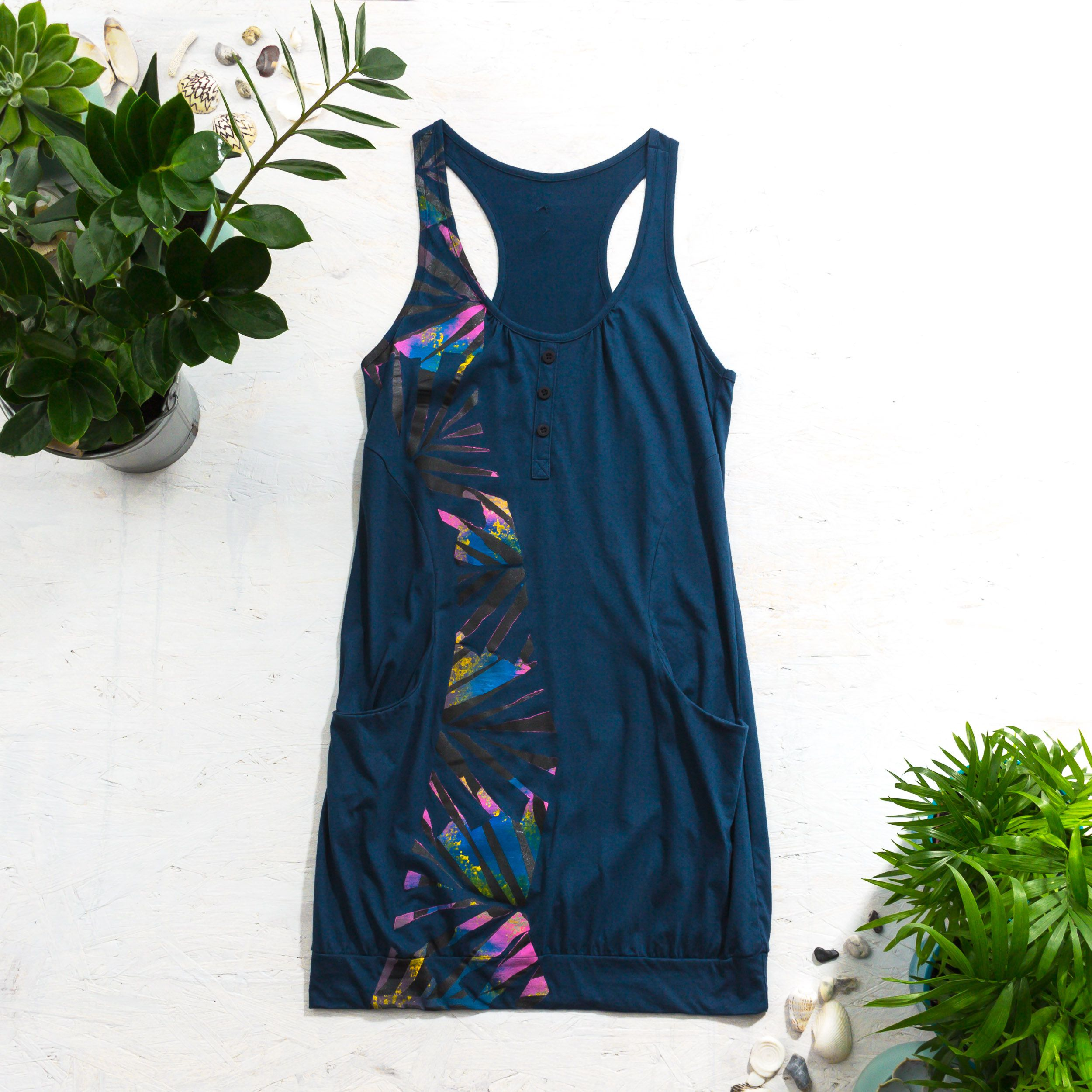 painted paint racer jungle abstract apparel one kind clothes shipping inspiration love unique cotton back dress fashion hand buttons pink festival with spirit free blue