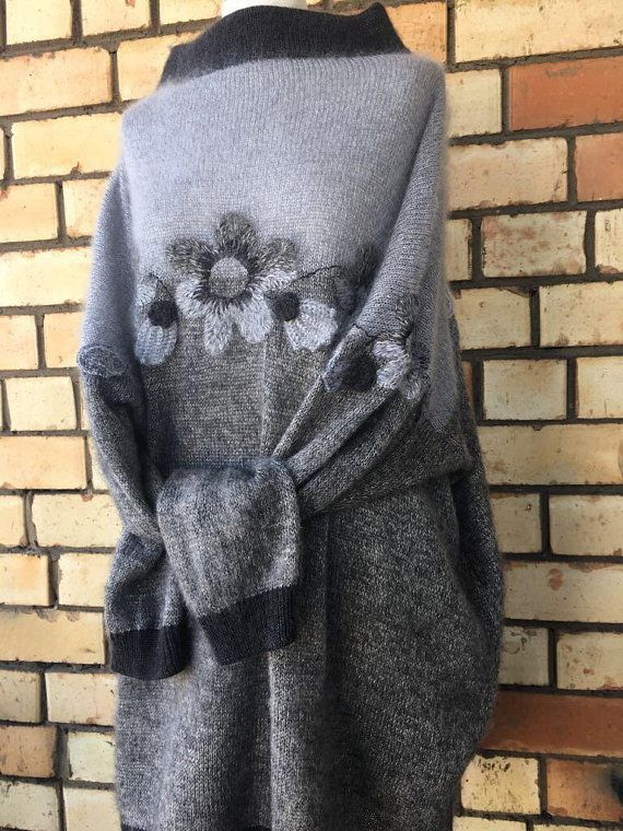 gray sweater boho black knit super dress floral exclusive turtleneck oversized maxi knitted embroidery